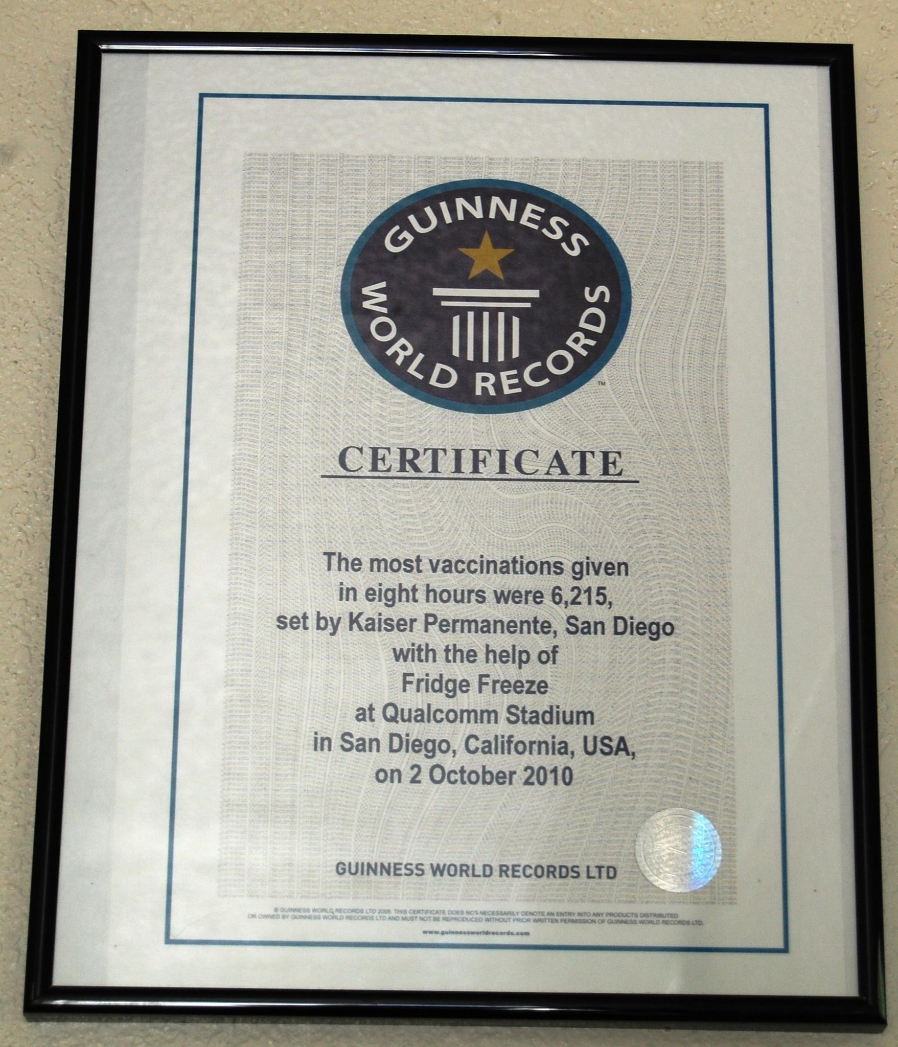 guiness certificate